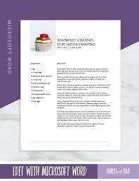 Recipe Template Word Microsoft Word Recipe Template Printable Us Letter 8 5x11 And International A4 Instant Download Cookbook Template And Recipe Binder Kit