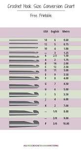 Crochet Hook Size Conversion Chart Crafts Crochet