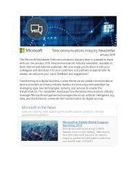 Microsoft Telecommunications Industry Newsletter January 2019