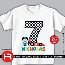Racecar Birthday Shirt Or Bodysuit Personalized Racing Birthday Shirt With Childs Age And Name