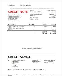 Sample Credit Note Invoice 7 Credit Note Templates Free Sample Example Format