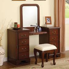 Bedroom Vanity Table With Mirror And Bench Makeup Vanity For Small ...