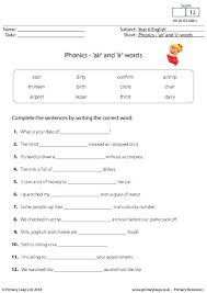 This worksheet focuses on the 'air' sound and accompanies the linguistic phonics stage 5 and 6 phase 4b, 'air' sound powerpoint. Literacy Phonics Air And Ir Words Worksheet Primaryleap Co Uk