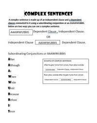 Complex Sentence Anchor Chart Worksheets Teaching