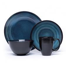 blue dinnerware sets. Plain Blue Oneida Adriatic Stoneware Dinnerware Round  Set Of 16 Blue For Blue Sets E