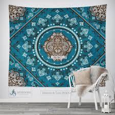 bohemian tapestry teal hamsa hand vintage mandala wall hanging
