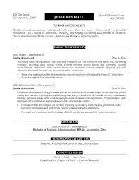 Accounting Job Resume Objective Microsoft Word Junior Accountant