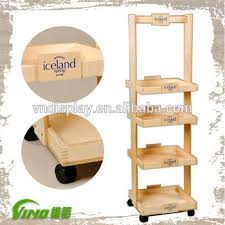 In Store Display Stands Wood Tray StandPlatter Rack With Wheels In Store DisplayRetail 40