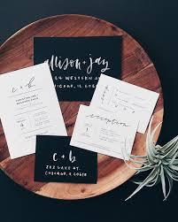 Black And White Invitation Paper Minimalist Black And White Hand Lettered Wedding Invitations