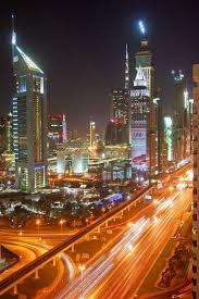 Dubai At Night View From The Hotel Radisson Royal Dubai