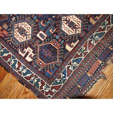 vintage persian rug in blue and red wool 1930