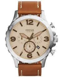 fossil men s chronograph nate light brown leather strap watch 50mm gallery