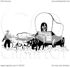 black and white covered wagon. clipart of a black and white retro pioneer covered wagon royalty free vector by bestvector