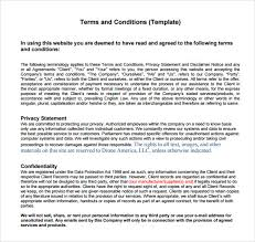 Website Terms And Conditions Template Enchanting 28 Terms And Conditions Samples Sample Templates