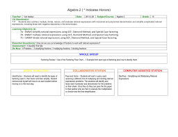 Factoring Flow Chart With Examples Algebra 2 Indicates Honors Teacher Van Aelstyn Date