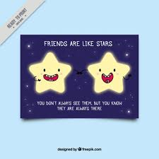 nice friendship card with bright star characters free vector