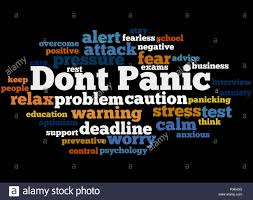 another word for warning dont panic word cloud concept on black background stock