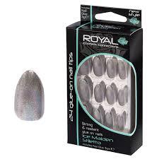 Royal Stříbrné Perleťové Umělé Nehty 24 Glue On Nail Tips Nails Sada