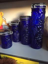beautiful pretty vintage cobalt glass canister food storage se 25 excellent condition kitchen furniture