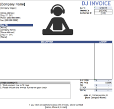 blank invoice templates in pdf word excel dj disc jockey
