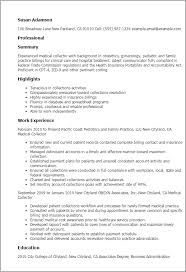Resume Templates: Medical Collector