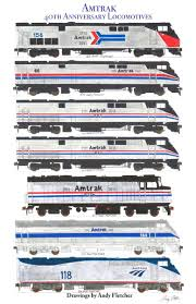 amtrak train drawing.  Amtrak 7 Hand Drawn Amtrak 40th Anniversary Locomotive Drawings By Andy Fletcher With Train Drawing D