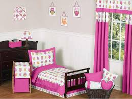 Bedroom:Gorgeous Teen Girl Bedroom With Pink Curtain And Bedding Sets  Matched With Dark Wood