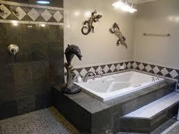 Step up to a platform tub. transitional-bathroom
