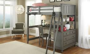 image of loft bed twin wood