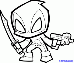 Small Picture Chibi Deadpool Coloring Pages Things to Wear Pinterest