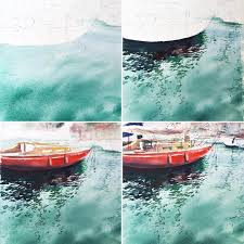 my usual steps in watercolors with the sea 1 to paint water with soft