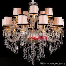 modern living room dining room crystal chandelier with fabric lampshade gold color luxury chandelier light for parlour bedroom pendant lamps oil rubbed