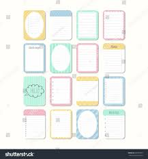 Notepad Template Sheets Paper Template Notepad Collection Various Stock Vector