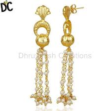 latest designer jewelry 14k gold vermeil natural pearl traditional chandelier earrings fashion jewelry traditional brass jewelry