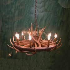 peak wagon wheel mule deer antler chandelier 9 light