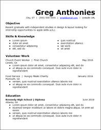 No Work Experience Resume Templates Free To Download