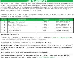 Audit Associate Job Description 2017 Office Of The Auditor General Job Vacancies Jobspot Kenya