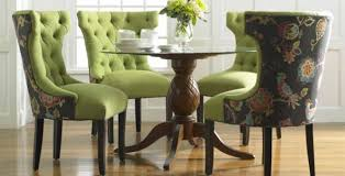 green upholstered chairs. Green Floral Upholstered Dining Room Chairs D