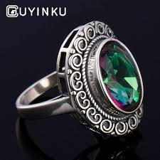 <b>GUYINKU</b> Oval <b>Gemstone</b> Created Mystic Topaz Rings Real Silver ...
