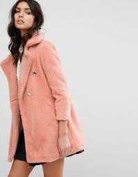 river island jackson coat with borg lining pink women coats river island coats very