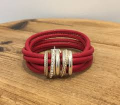 brighton neptunes rings leather bracelet red 1