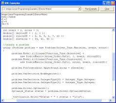 sdk example 2 integer linear programming