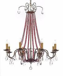 empire crystal chandelier lighting dressed with ruby red crystals great for