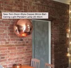 tom dixon style copper mirror ball ceiling light pendant large 45cm
