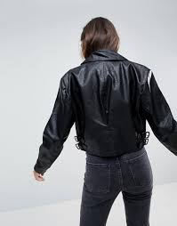 asos cropped leather look 80 s biker jacket v90y1 for women