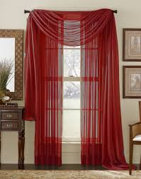 Home  Curtains & Window Treatments; Red Sheer Panel. Image 1