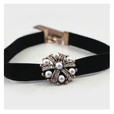bronze metal pearl flower black leather choker necklace
