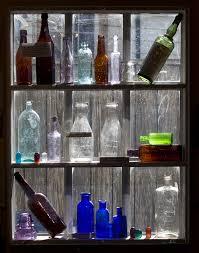 wood vintage glass old wall bar decoration color drink shelf blue furniture liquor display bottles colored