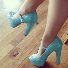 light blue t strap pumps patent leather chunky heels image