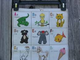 Vintage Childrens Wall Hanging Abc Alphabet Chart Letters Numbers Objects Felt Fiberglass Fabric 1960s Teaching Aid Kids Room Baby Decor